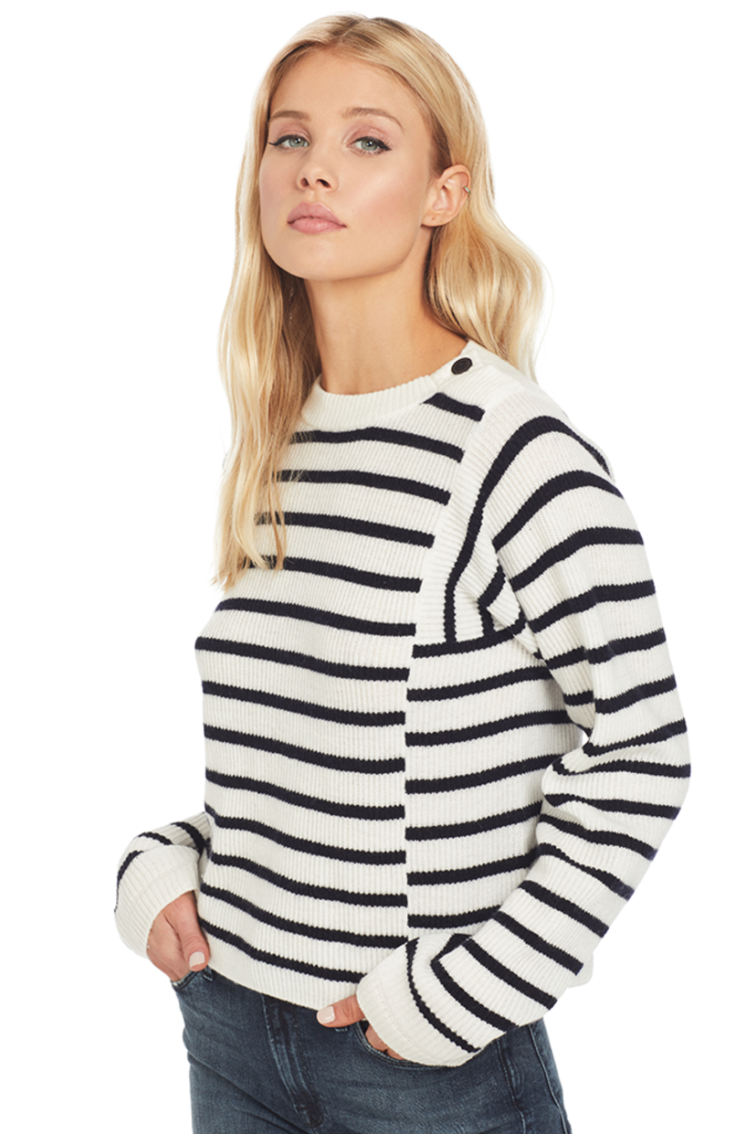 Vince Mixed Stripe Pullover (White/Coastal) Tops