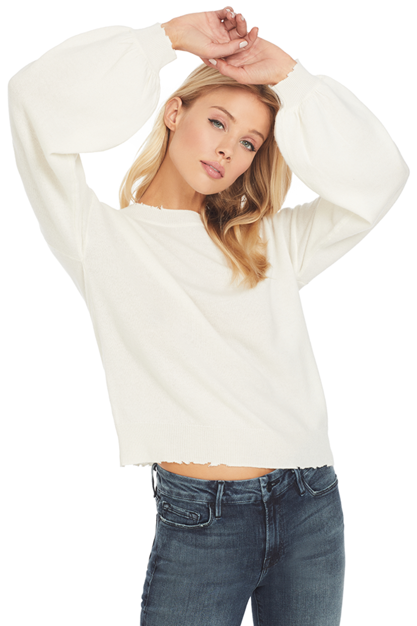 RTA Magnus Bell Sleeve Sweater (Cachet White) Tops