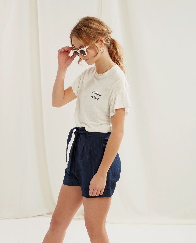 Les Coyotes De Paris Jagger Shorts Navy with Pinstripe Kids