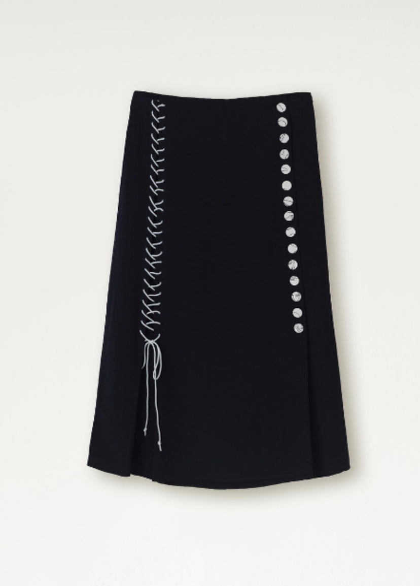 By Malene Birger Lace Up Button Skirt Skirts