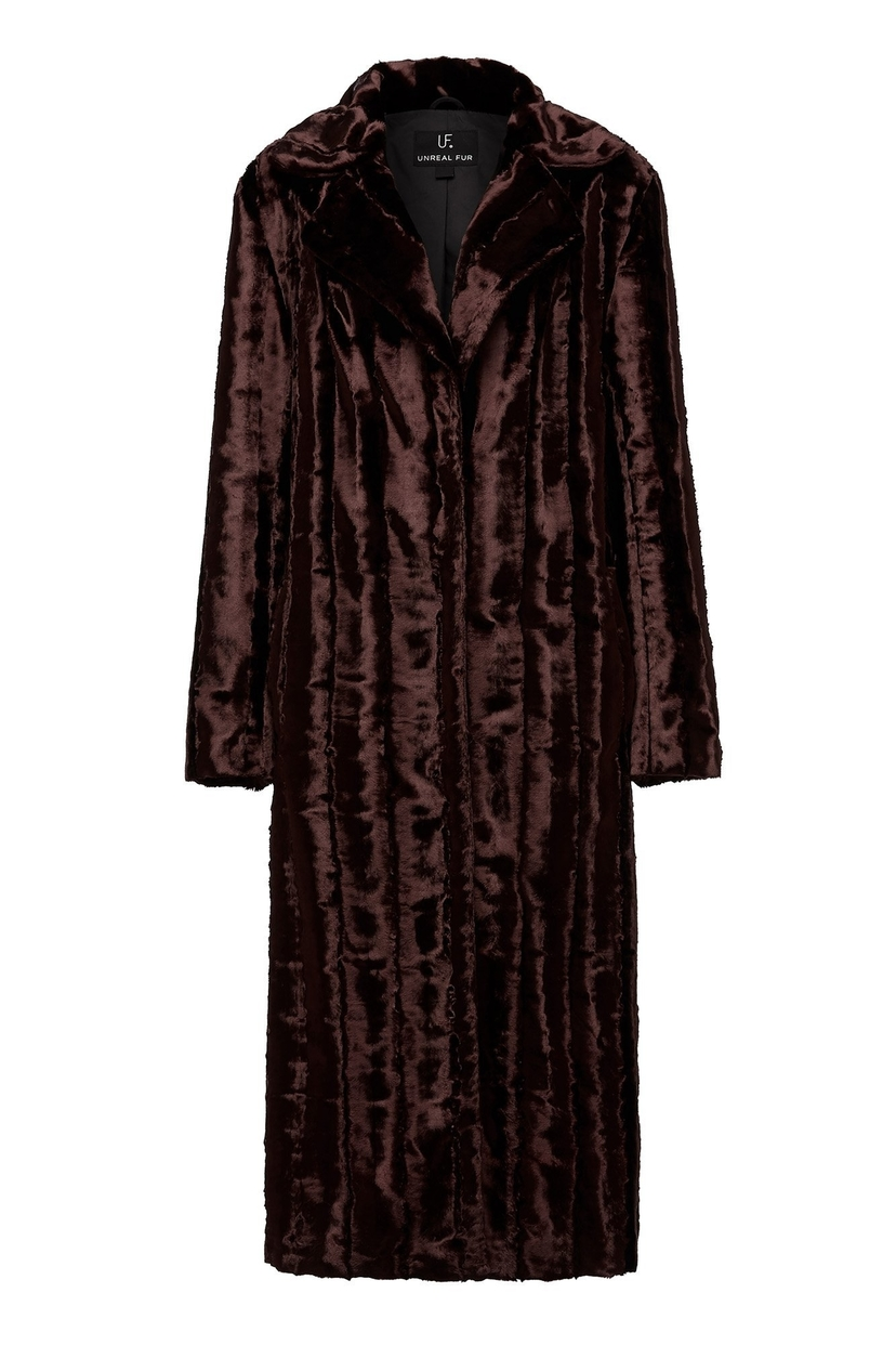 Unreal Fur Velvet Underground Coat in Chocolate Outerwear
