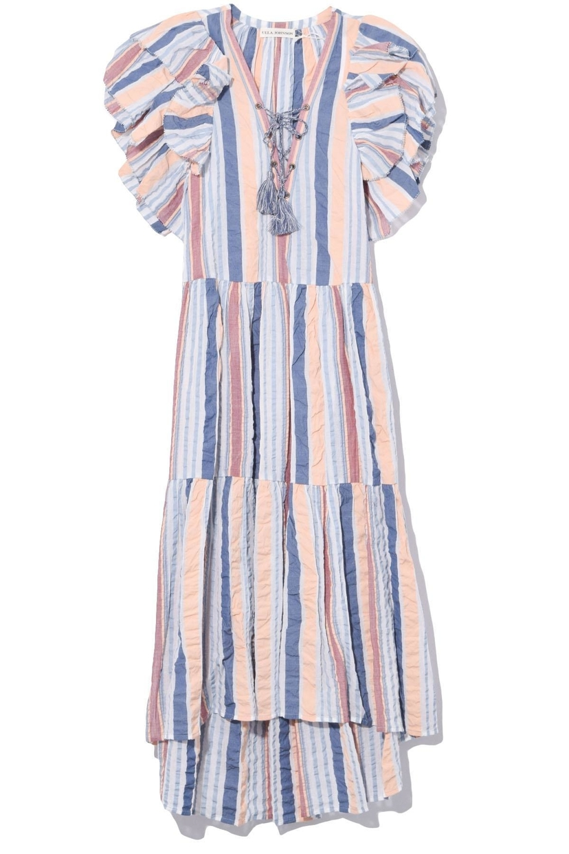 Ulla Johnson Leonie Contrast Stripe Cotton Seersucker Ruffle Dress - Sky Dresses