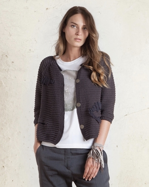 Tonet Cotton Embroidered Cardigan Tops