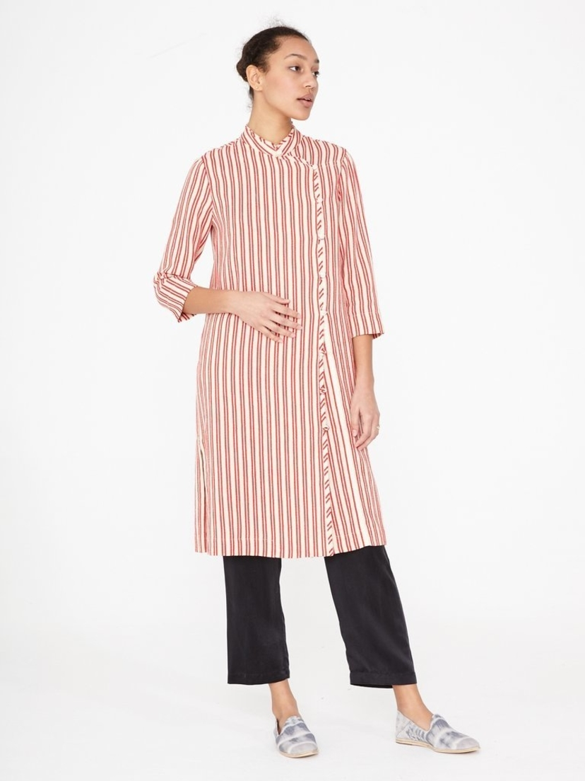 Raquel Allegra Natural Red Stripe Tailoring Duster Dress Outerwear