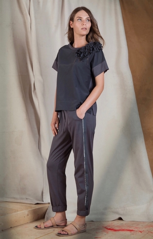 Tonet Top with Shoulder Detail and Pants Pants Tops