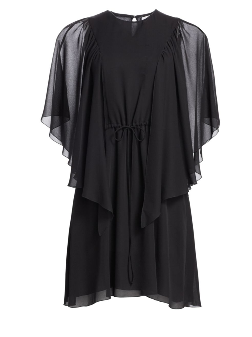 See by Chloé Black Flutter Sleeve Georgette Dress Dresses