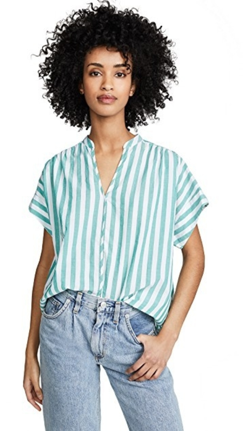 Popover Top Green Stripe Tops