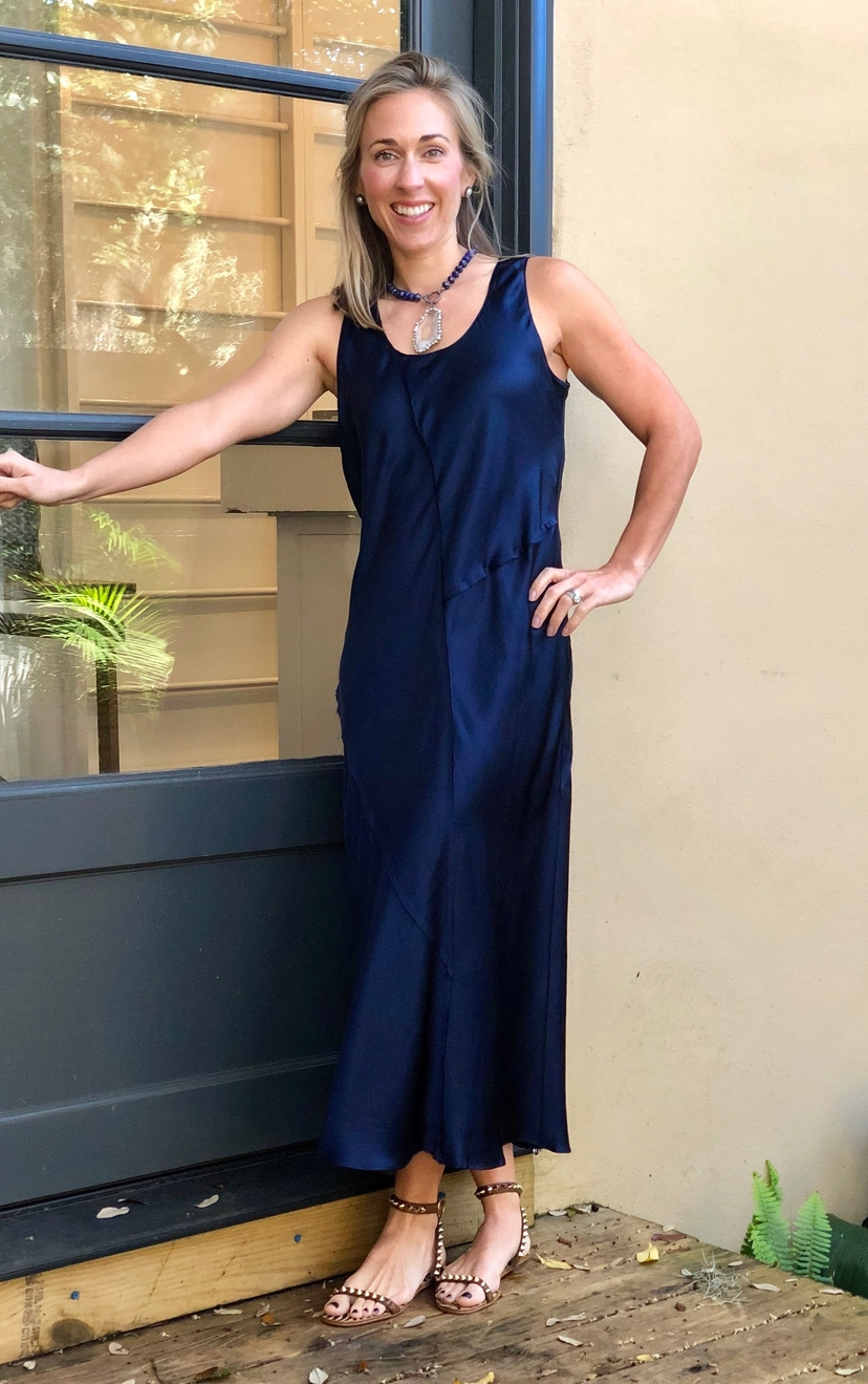 Navy Seam Maxi Dress Dresses