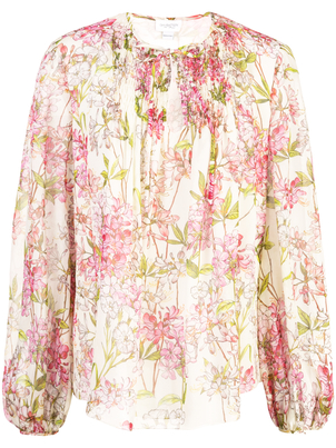 Giambattista Valli Floral Tie Neck Blouse Tops