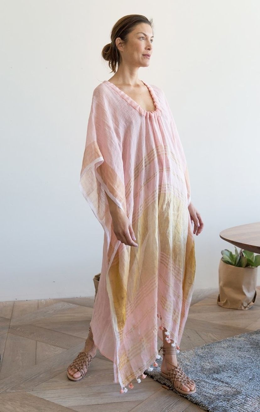 Two Pink Drawstring Caftan Dresses Tops