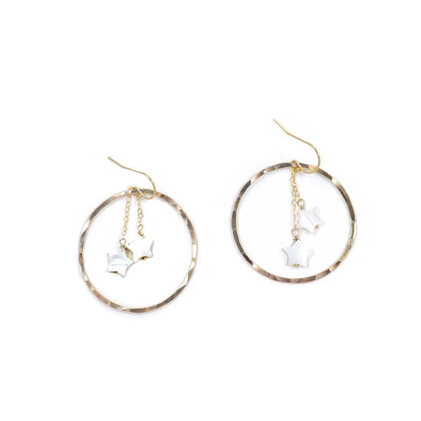 Bent by Courtney Shooting Star Hoops | Mother of Pearl Jewelry