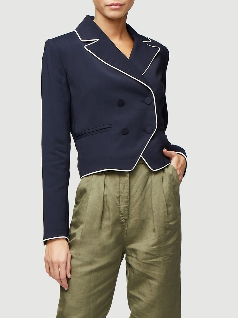 FRAME Piped Cropped Blazer in Navy Outerwear