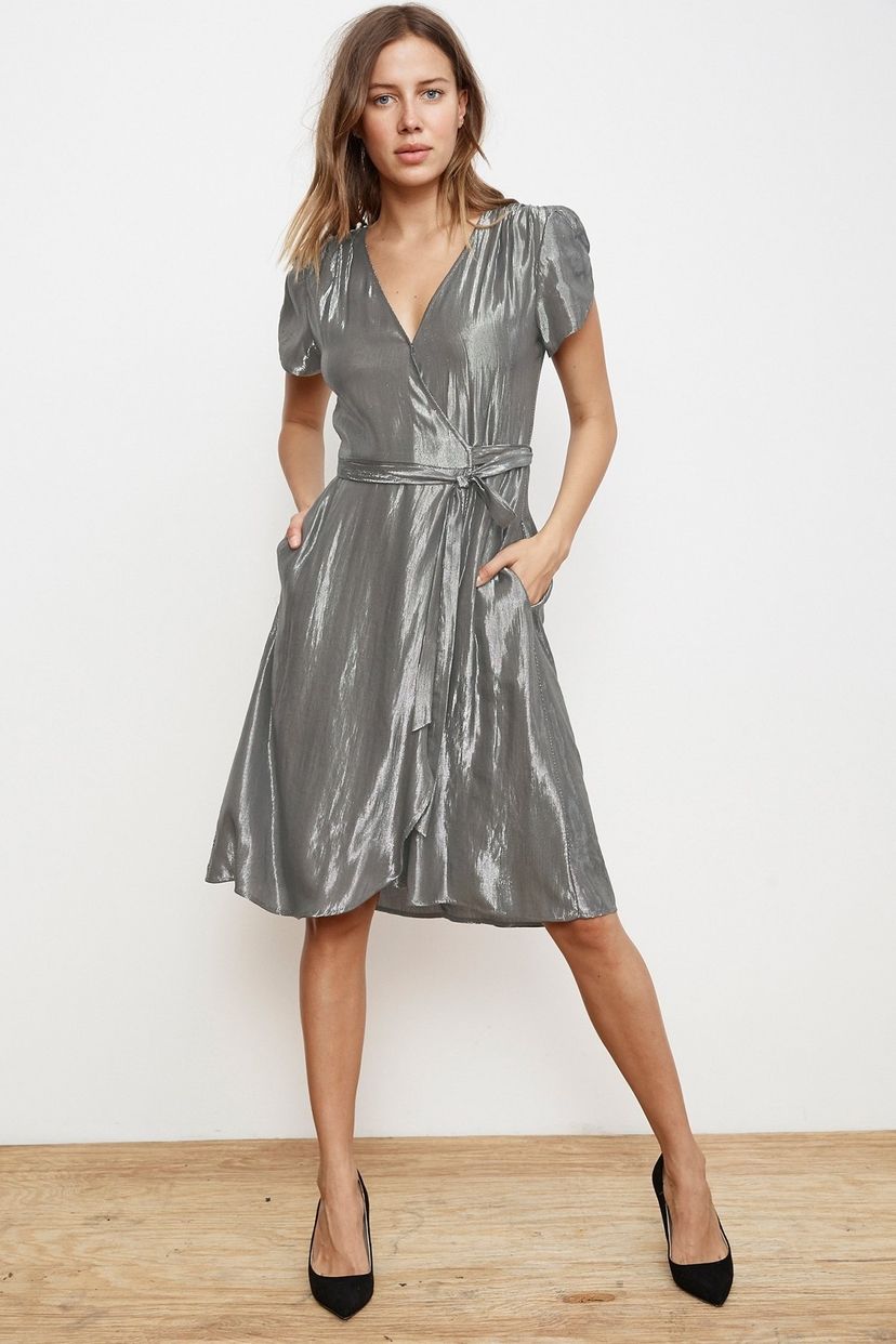 Velvet CALINA LAMÉ WRAP DRESS in Gumetal Dresses Sale