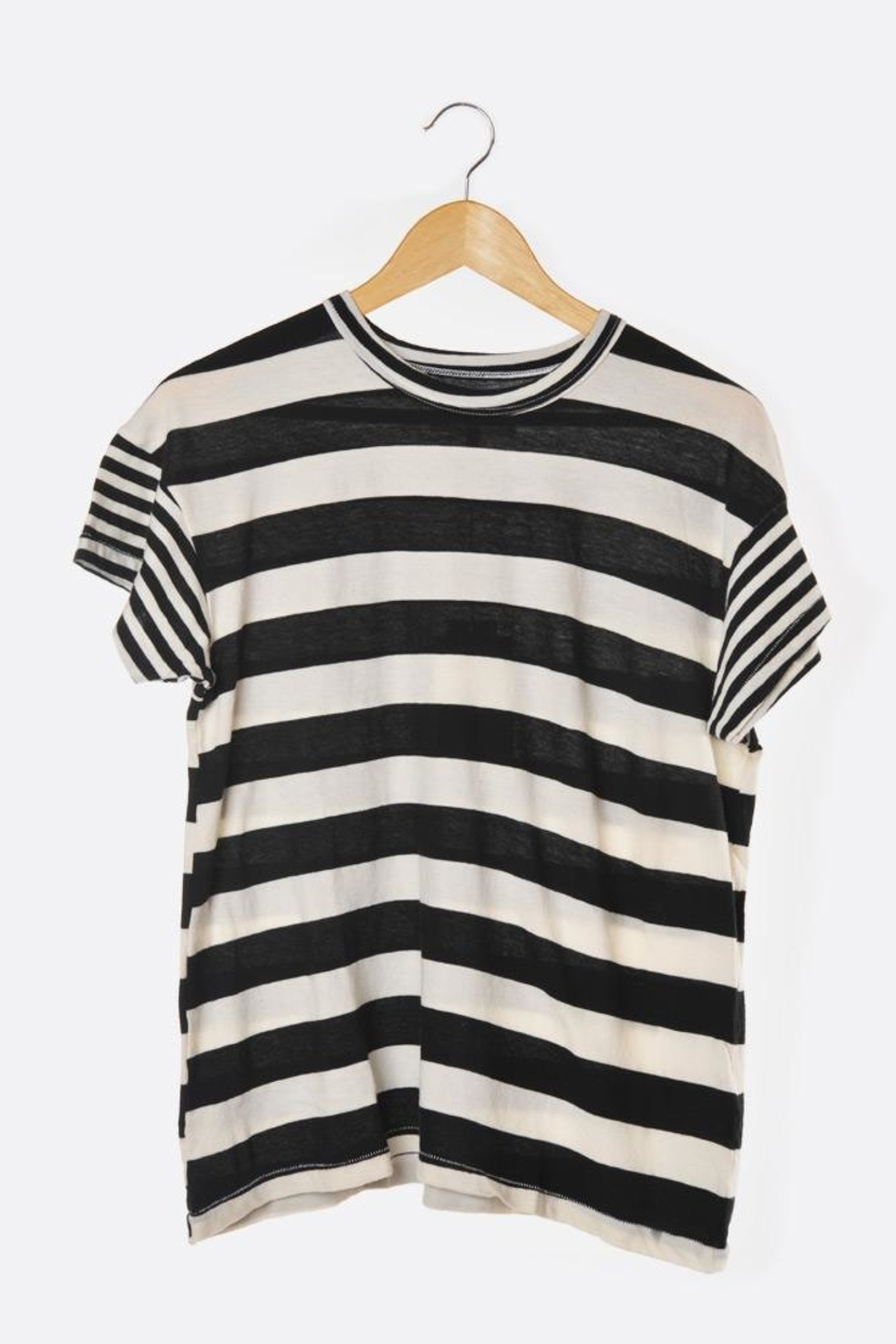 The Great. Black Mixed Striped Boxy Crew Tee - 1 left Sale Tops