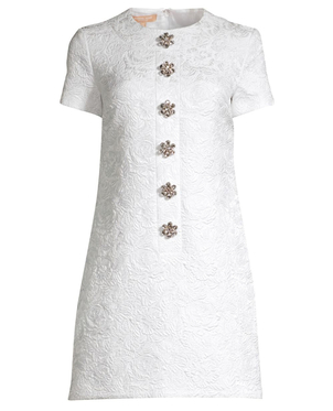 Michael Kors Collection Floral Gem Matelasse Button Shift Dress Dresses