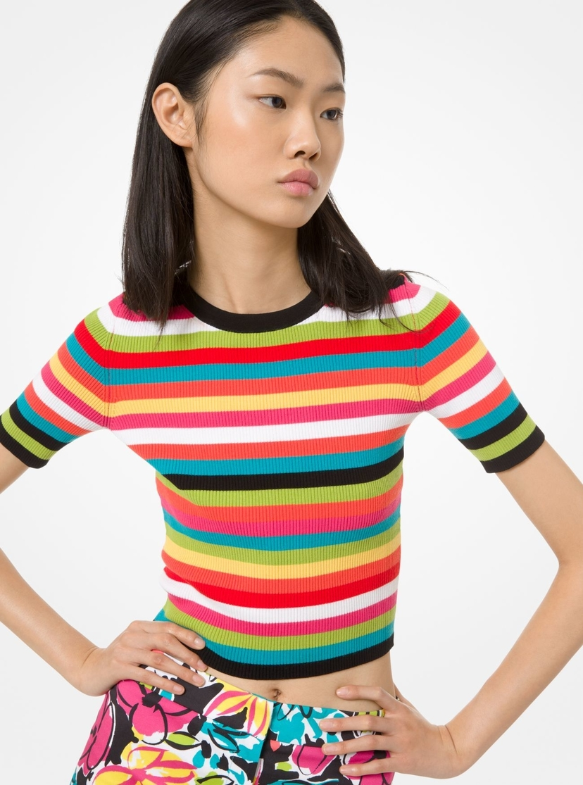 Michael Kors Collection Striped Ribbed Pullover Tops