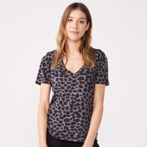 MONROW Leopard Relaxed V Tops