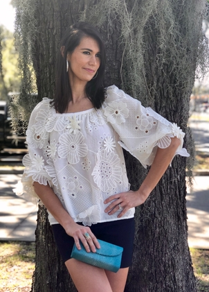 Hunter Bell Annabelle Flower Embroidered Top - Ivory Tops
