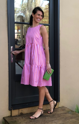 MDS Stripes Pink Stipe Sleeveless Peasant Dress Dresses