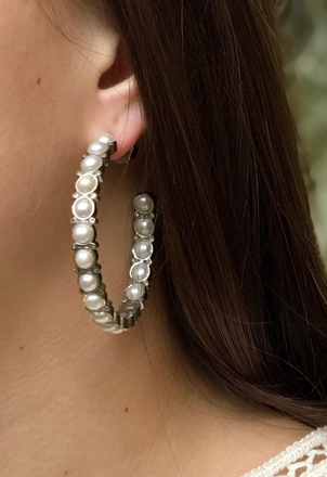 The Woods Fine Jewelry Pearl & Diamond Hoops Jewelry
