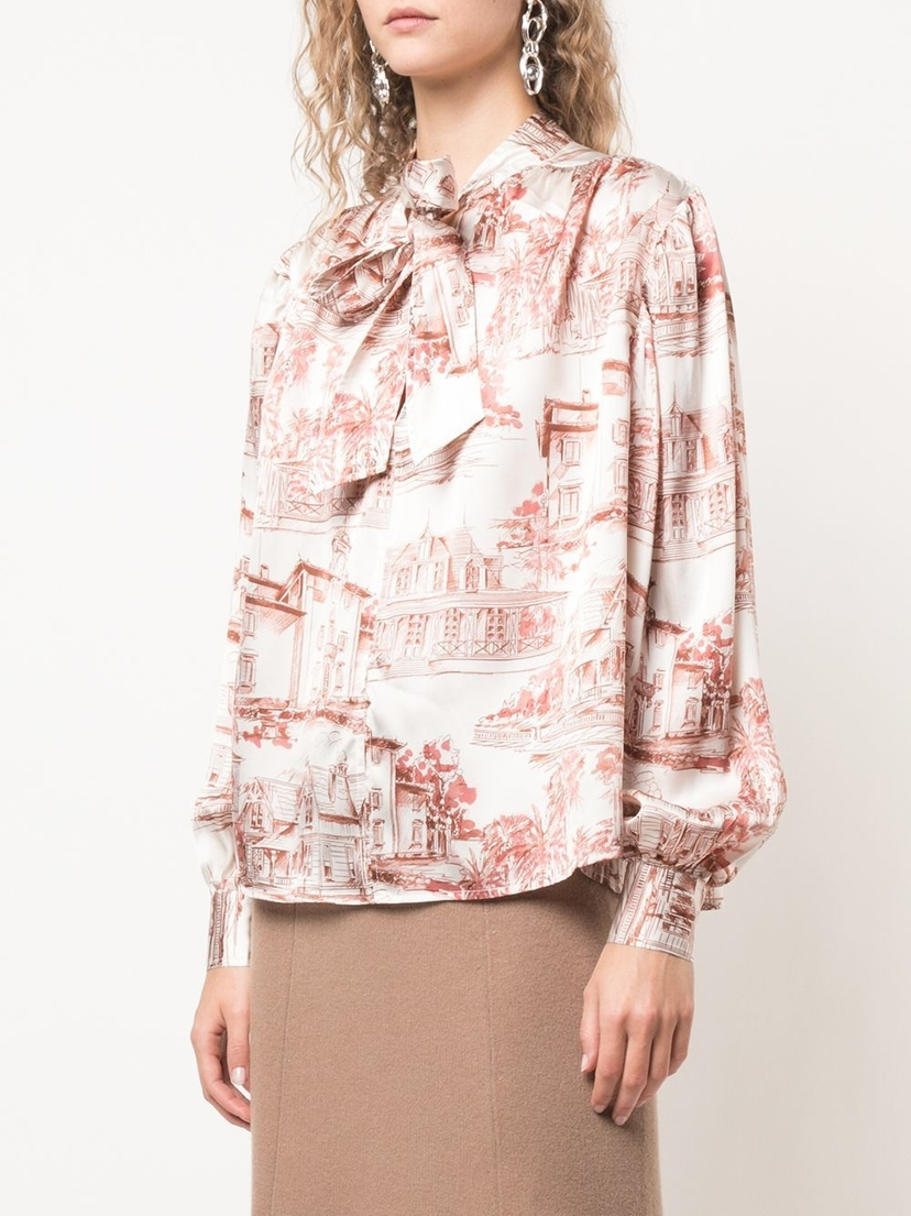 Co Bermuda Print Blouse Tops