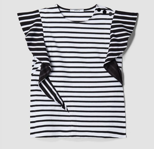 Derek Lam 10 Crosby Striped Ruffle Sleeve Tank Tops