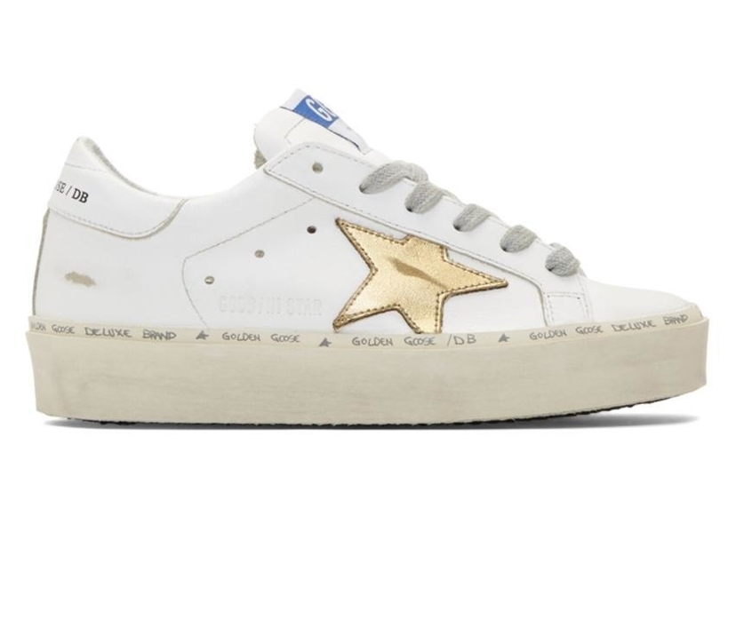 Golden Goose Deluxe Brand Golden Goose White and Gold Hi Star Sneakers Shoes