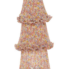 Dewy Floral Print Tiered Evening Dress