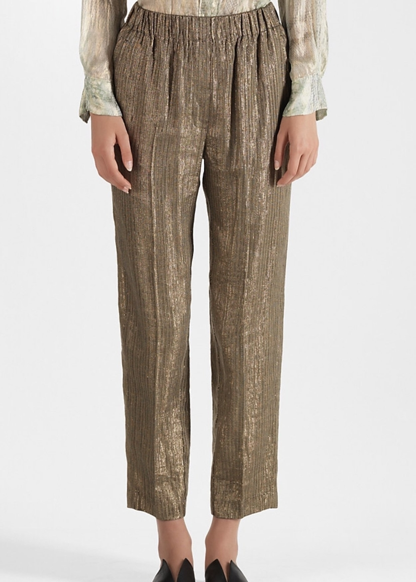 Forte Forte Forte Forte Lurex Linen Pant in Oro Pants