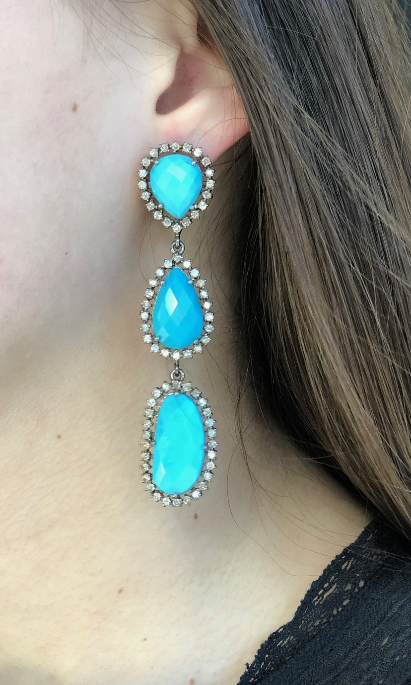The Woods Fine Jewelry Sleeping Beauty Faceted Turquoise and Diamond Drop Earrings Jewelry