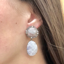 SOLD Moonstone & Diamond Drop Earrings