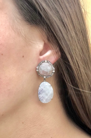 The Woods Fine Jewelry SOLD Moonstone & Diamond Drop Earrings Jewelry