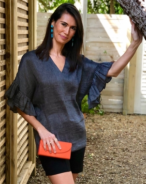 Silk Blend Flutter Sleeve Blouse Tops