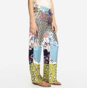 Johnny Was Silk Patchwork Print Palazzo Pant Pants