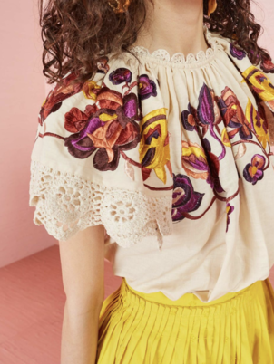 Rumi Embroidered and Crocheted Trim Blouse