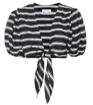Lisa Marie Fernandez Black and White Striped Top Swimwear Tops