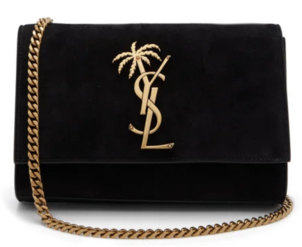 Saint Laurent Black Suede Palm Tree Logo Bag Bags Swimwear