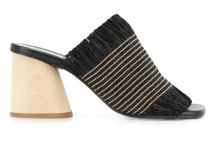 Proenza Schouler Fringe Wood Heel Slides Shoes Swimwear