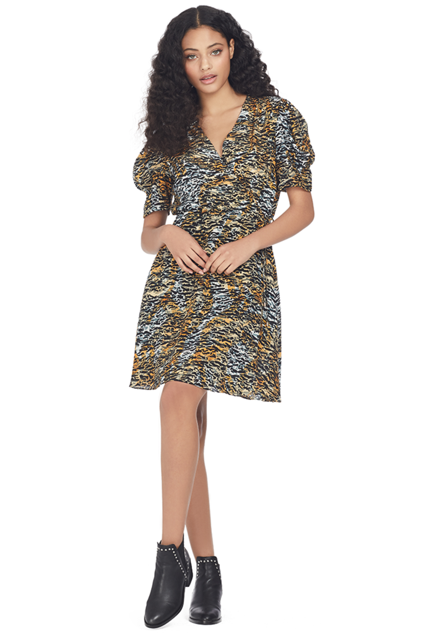 Saloni Lea Wrap Mini Dress (Ink Tiger) Dresses