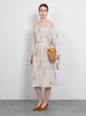 Raquel Allegra Striped Floral Silk Satin Gathered Midi-Dress Dresses