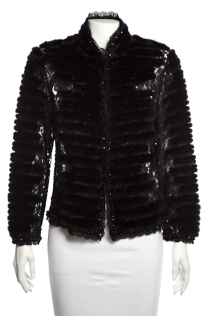 Escada Escada Black Mink Trim Lace Jacket SZ 38 Outerwear
