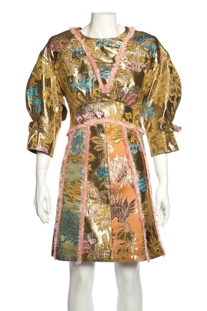 Peter Pilotto Peter Pilotto Gold Metallic Jaquard Mini Dress SZ 4 Dresses Sale