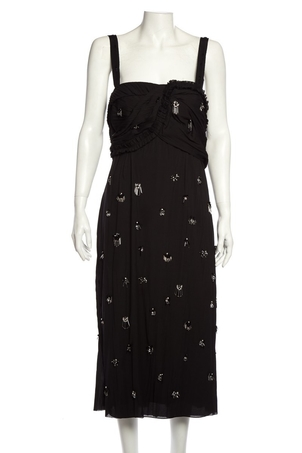 Jason Wu Jason Wu Black Crushed Pleated Cocktail Dress SZ 6 Dresses Sale