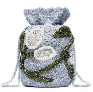 Ganni Blue Slitstone Floral Beaded Bag Bags