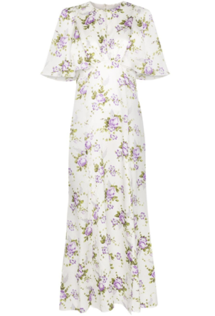 Les Reveries Floral Short Sleeve Silk Dress Dresses