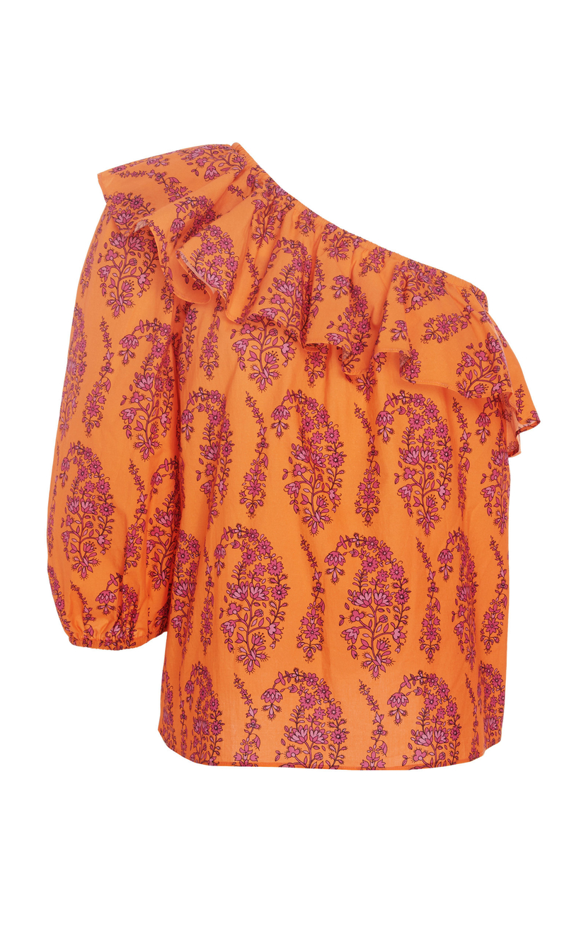 MDS Stripes Paisley One-Shoulder Cotton Top Tops