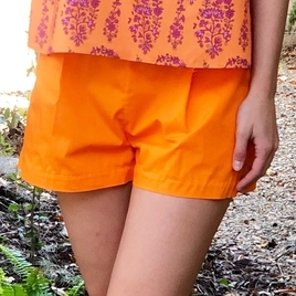 Orange Pleated Cotton Shorts