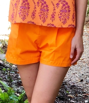 MDS Stripes Orange Pleated Cotton Shorts Shorts