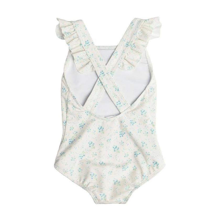 Minnow Girl's Creme Floral Crossover One Piece Kids