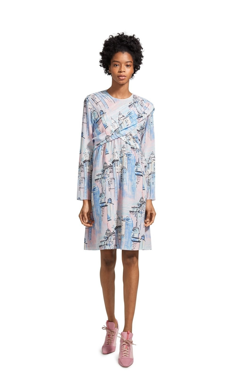 Sies Marjan Oksana City Print Wrap Mini Dress Dresses
